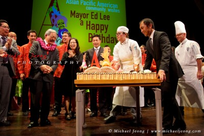 SF Mayor Ed Lee is surprised with a wonderful birthday cake