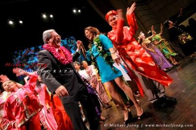 SF Mayor Ed Lee and KPIX's Thuy Vu dance on stage with the performers dressed in traditional Asian ethnic wear