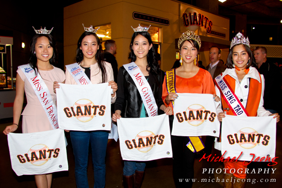 Local pageant title holders pose with SF Giants towels.