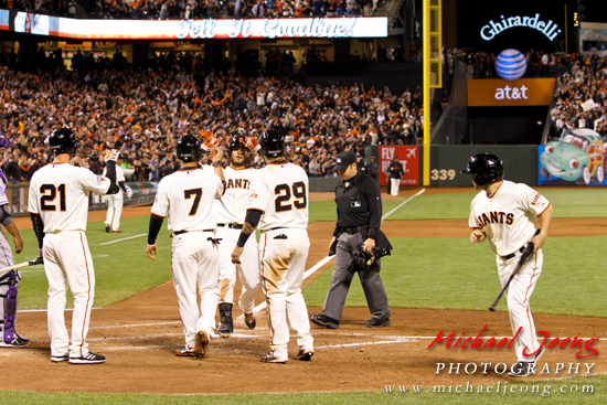 Brandon Crawford is welcomed home after hitting a three run homer, which marks his second career home run at AT&T Park (coming on his 363rd plate appearance at AT&T).