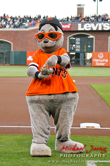 Lou Seal shows off his two World Series rings.