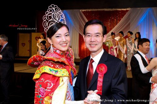 Miss Chinatown Karen Li and Chinese Chamber of Commerce President Kenny Tse with the first dance.